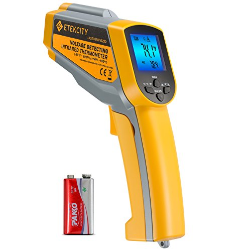 - Etekcity Lasergrip 1025D Digital Dual Infrared Laser Thermometer Temperature Gun-58℉~1022℉ (-50℃~550℃) with Adjustable Emissivity, Non-Contact Voltage Tester (NCV)