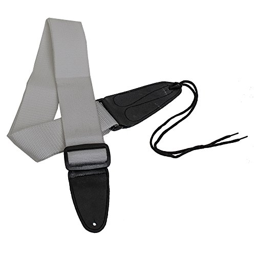 Performance Plus GS1S Electric or Acoustic Silver Guitar Strap Including Ties for Acoustics