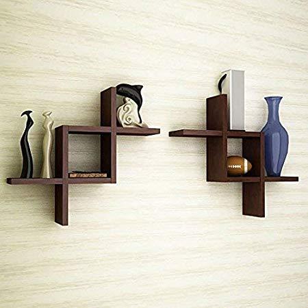 new style 03e2a 7b479 Mamta Decoration MDF Wooden Wall Shelf Set of 2 Shelves Brown