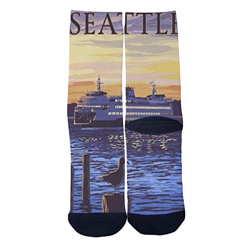 Men's Women's Custom Seattle Vintage Travel Poster Socks Colorful Funky Creative Casual Crew Socks Black -
