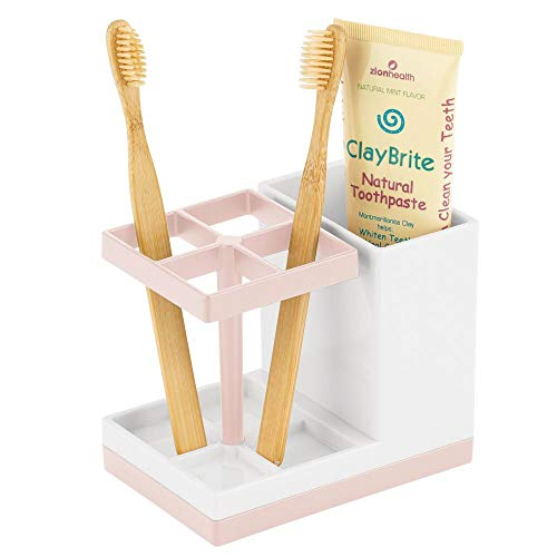 mDesign Decorative Plastic Bathroom Toothbrush and Toothpaste Stand Holder – Dental Organizer with 5 Storage…