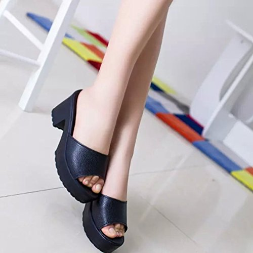 Hauts Plate Coins Solide Mode Femme Forme Kairuun Noir Couleur Chaussons Sandales à Soft Pantoufles Talons 7XvZ8wq