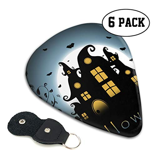 Novelty Top Halloween Silhouette Bat Haunted Houses Ultra Light 0.46 Medium 0.71 Heavy 0.96mm Printed Round Flat Celluloid Jazz Electric Acoustic Bass Guitar Pick Ccessories Variety Pack Pocket