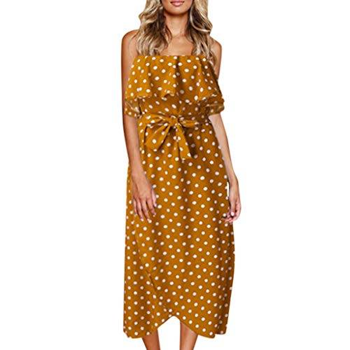 IEasⓄn Women's Sleeveless Off Shoulder Dot Print Vintage Dress Fashion Casual Lace up Beach Long Dress Yellow