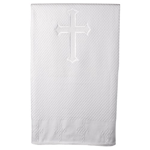 Haddad Brothers Unisex-Baby Newborn Christening Baptism Special Occasion Cross Embroidered Blanket, White, One Size