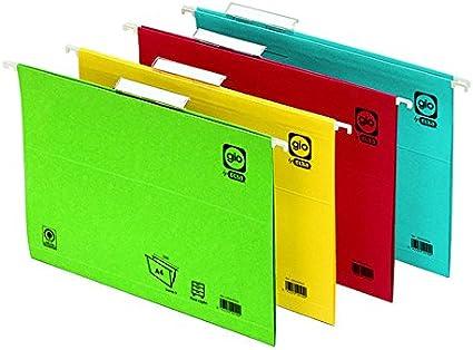 Elba Gio - Caja de 25 carpetas colgantes para cajón, Fº, color rojo: Amazon.es: Oficina y papelería