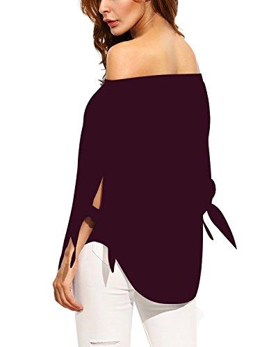 StyleDome Lace Longues Bustier Tops Nue Femme Rayur Manches Shirt Epaule Casual Bordeaux Bateau Haut Blouse Coton Chemise Col rrqP4p