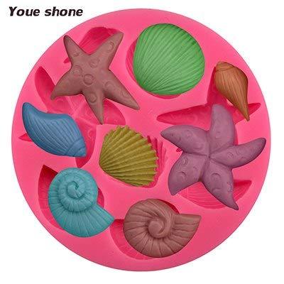 (1 piece Sea Life Silicone Mold Fondant Gunpaste Cake Decorating Tool Cake Mold Shells Starfish Shape Cake Chocolate Silicone Mold)