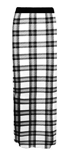 Blanc Tartan Jupe Longue Plaine Femmes Gitan Maxi lastique Elum 8Zw01AAq