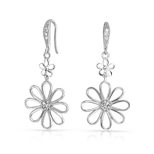 Bridal Daisy Flower Shape CZ Dangle Earrings Cubic Zirconia For Women French Wire 925 Sterling Silver