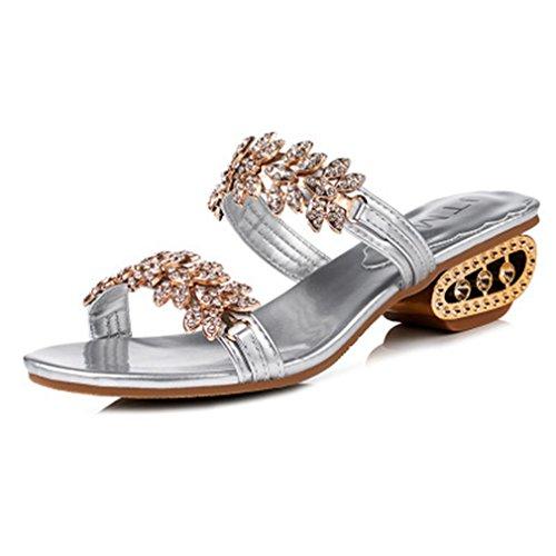 GIY Womens Fashion Rhinestone Wedges Sandals Platform Open Toe Anti-Slip Block Heel Glitter Wedding ()