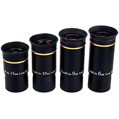 "SVBONY 1.25"" Telescope Accessory Sets Eyepiece Kits Fully Mutil Coated 66 Degree Ultra Wide Angle HD 6mm 9mm 15mm 20mm for Astronomical Telescope by SVBONY"