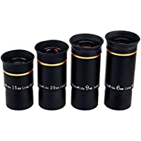 SVBONY Telescope Eyepiece Fully Mutil Coated 1.25 Telescope Accessories Set 66 Degree Ultra Wide Angle HD 6mm 9mm 15mm 20mm for Astronomy Telescope