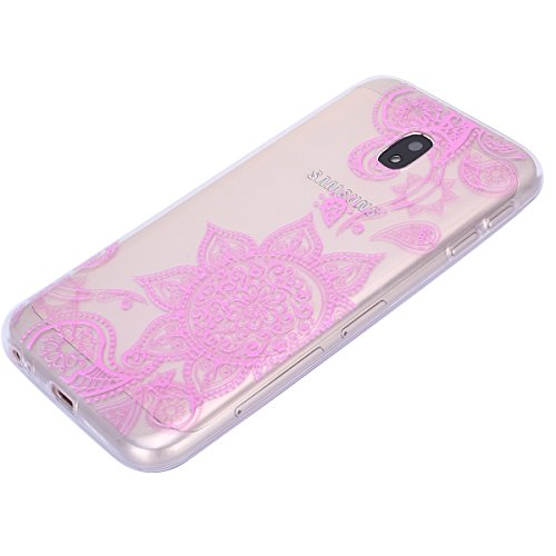 EUWLY Carcasa para Samsung Galaxy J3 2017/J330(Versión Europea), Funda Samsung Galaxy J3 2017 Silicona Transparente, Ultra Delgado Ligera Suave Carcasa Case Alta Calidad Claro Como el Cristal Silicona Flores rosadas