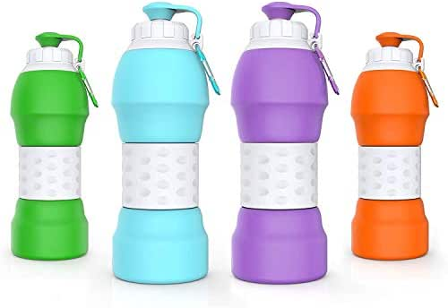 LESOVI Collapsible Water Bottle,Medical Grade BPA-Free Silica Gel and FDA Approved,Leakproof and Durable Silicone Water Bottle for Gym Outdoor Hiking Camping Travel
