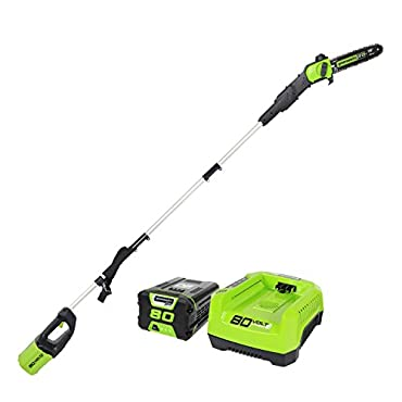 GreenWorks Pro PS80L210 80V 10 Cordless Pole Saw, 2Ah Battery and Charger Included