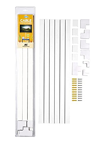 Cable Concealer On-Wall Cord Cover Raceway Kit - Cable Management System to Hide Cables, Cords, or Wires - Cord Organizer for TVs and Computers at Home or in The - Slim Mount Coaxial Speakers