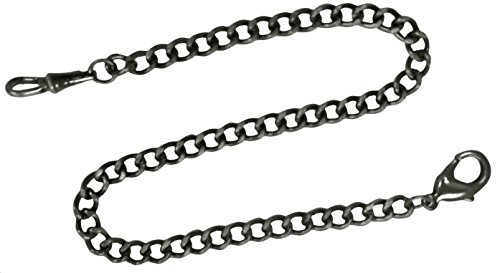 Pocket Watch Chain FOB Curb Link Design Bronze Grayish Black 14 inches by ShoppeWatch 76BK (Link Curb Watch Pocket Chain)