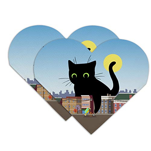 Giant Black Cat Playing with Cars Heart Faux Leather Bookmark - Set of 2