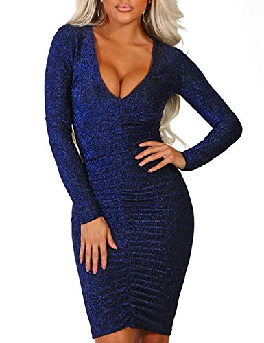 Rela Bota Women's Plunge Neck Shiny Ruched Long Sleeve Bodycon Mini Dress Clubwear Blue S