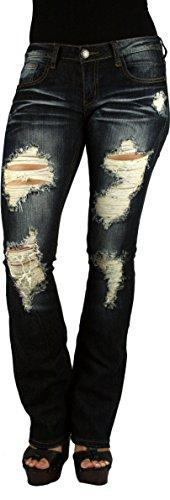 MACHINE JEANS Destroyed Distressed Ripped Dark Wash Denim Jeans - Waist 1