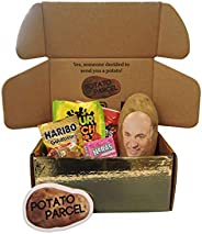 Classy Potato Gift Bundle - Your image and/or message on a real potato! Includes assorted candy and gold surpr