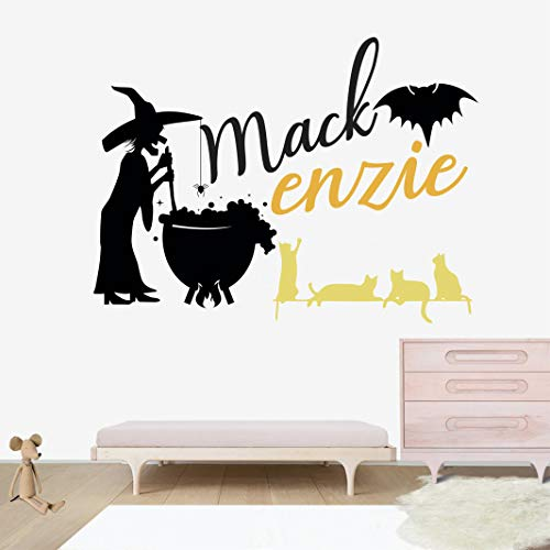 Personalized Name Wall Decal - Halloween Witch Wall Decal Vinyl Sticker Nursery for Home Bedroom Children ()