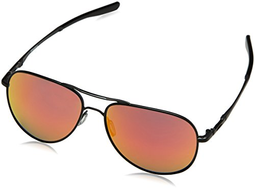 (Oakley Elmont M & L Non-Polarized Iridium Aviator Sunglasses, Satin Black, 58 mm)