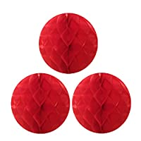 Allydrew Hanging Party Decoration 10 Inch Tissue Honeycomb Ball for Weddings Birthday Parties Baby Showers and Nursery Décor (3 pack) Red