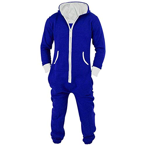 Lu's Chic Men's Hooded Onesie Union Suit Non Footed Warm Zipper Long Playsuit Pajama Jumpsuit Blue US M (Tag2XL) -