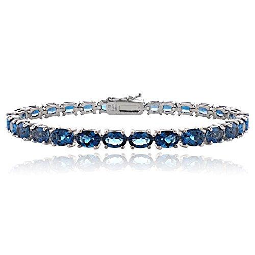 Sterling Silver London Blue Topaz 6x4mm Oval Tennis Bracelet by Ice Gems