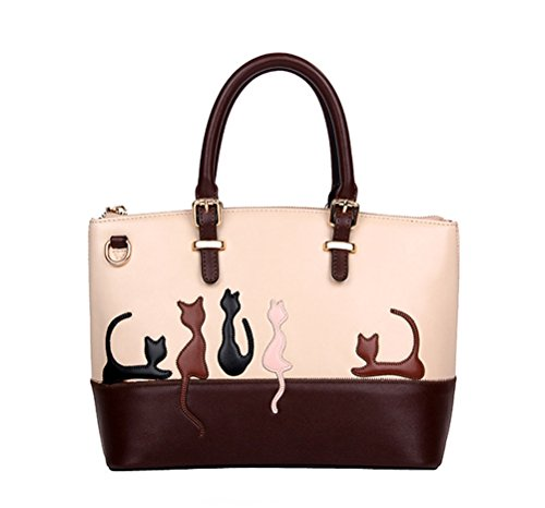 BG-Women-Deluxe-Cute-Cat-Zippered-Tote-Style-Top-Handle-PU-Leather-Satchel-Handbags