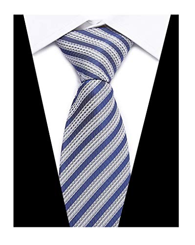 Men's Denim Blue White Ties Striped Patterned Graduation Student Silk Neckties