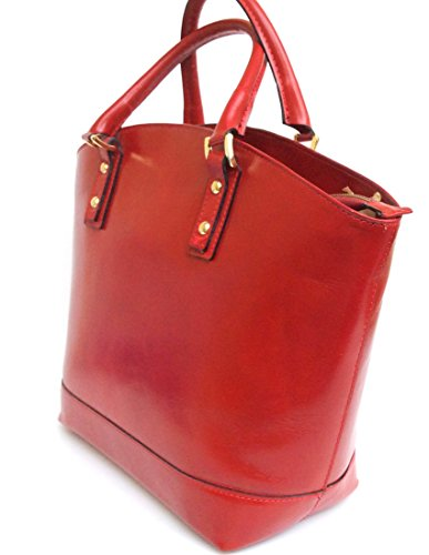 Made Red Bag Italy Genuine Smooth Basket Women's Giulia Handbag Model Superflybags Leather Tote bag in BFPan4