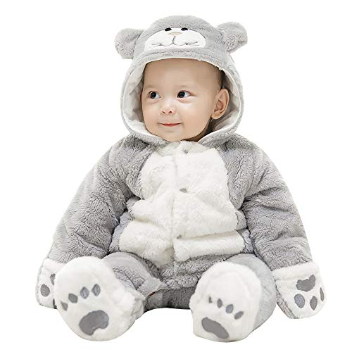 mikistory Infant Romper Newborn Unisex Costume for Baby Newborn Outfit Hoodie Winter Baby Outfits Bodysuits Grey Cat -