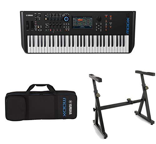 Yamaha MODX6 61-Key Semi-Weighted Action Keyboard Synthesizer with Yamaha MODX6 Soft Case and Heavy Duty Adjustable Keyboard Stand