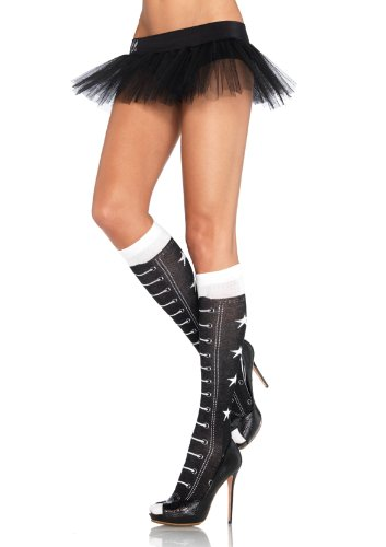 Leg Avenue Acrylic Faux Lace Up Athletic Star Knee Highs, One Size, Black/White