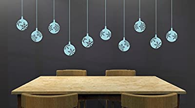 """Set of (10) 4"""" Snowflake Decorative Ornaments Removable Vinyl Decal - Perfect Holiday and Christmas stickers for Walls, Windows, Storefronts, and Offices - Powder Blue"""