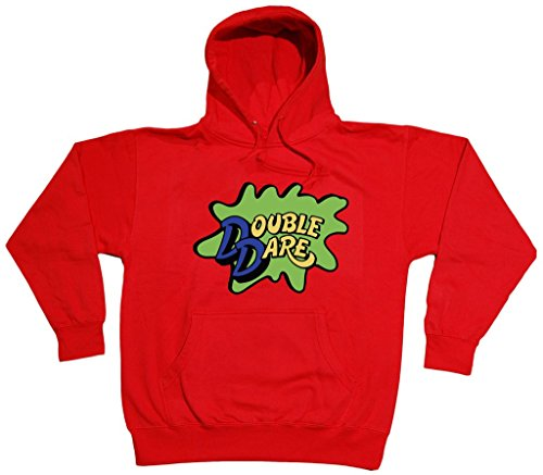 RED Double Dare Logo Nickelodeon Hooded Sweatshirt ADULT 2XL