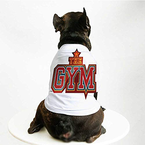 YOLIYANA Fitness Cute Pet Suit,Vibrant The Gym Sign with Star Figure Workout Bodybuilding Exercise Decorative for Small Medium Large Size Dogs Cats,M