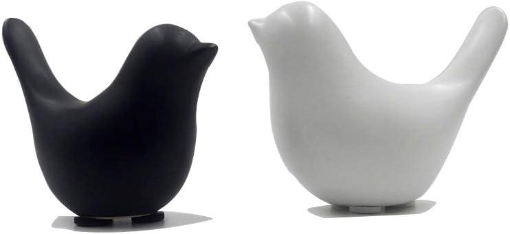 SuDuoLa Scandinavian Decor Bird Decor (Minimalist Decorations Modern Sculptures White Doves Birds Figurine) Home Decor Crafts Ceramic Birds Gifts (Black and White) 2Pcs
