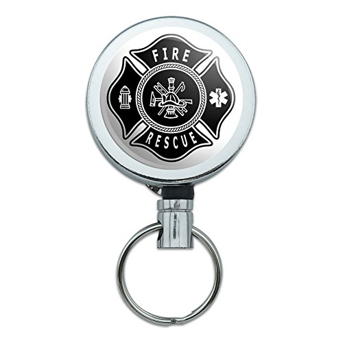 Metal Retractable Reel ID Badge Key Holder with Belt Clip Firefighter Firemen - Fire Rescue Maltese Cross ()