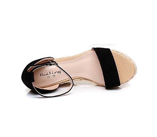 Tressés 9cm Chaussures Broderie Rêve Cheville Talons Taille Talon Noir 35 Compensé Sandales Sexy Haut Hauts couleur UwI87q