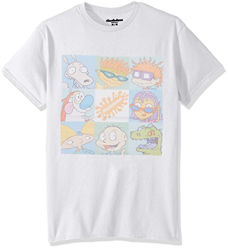 Nickelodeon Men's 90's Television Short Sleeve Graphic T-Shirt, White, Large