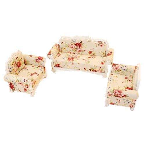 SODIAL(R) 1:12 Dollhouse furniture model living room sofa set -3pcs Sofa Pink 119721