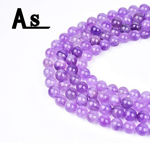 "Asingeloo 10mm Natural Purple Clear Amethyst Quartz Loose Beads for Jewelry Making Healing Power Gemstone 15"""