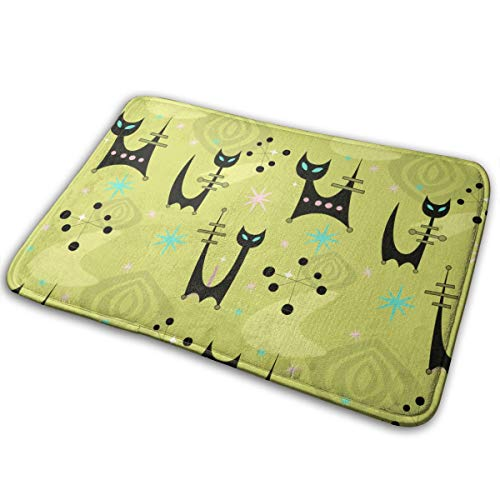 LNUO-2 Indoor Outdoor Entry Way Doormat Atomic Space Cats Patrol Rug Floor Mats for High Traffic Areas, Rubber Non Slip Backing