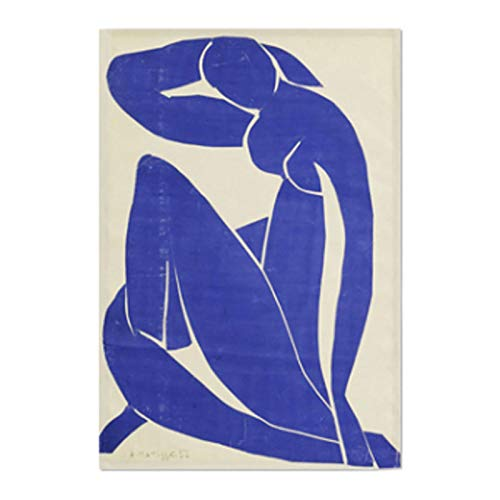 (AbundanceHomeDesign Blue Nude by Henri Matisse/Printed on Premium Fabric Poster/Tapestry Wall Hanging for Wall Decor/Famous Painting Art Collection/S M L Sizes - Medium)