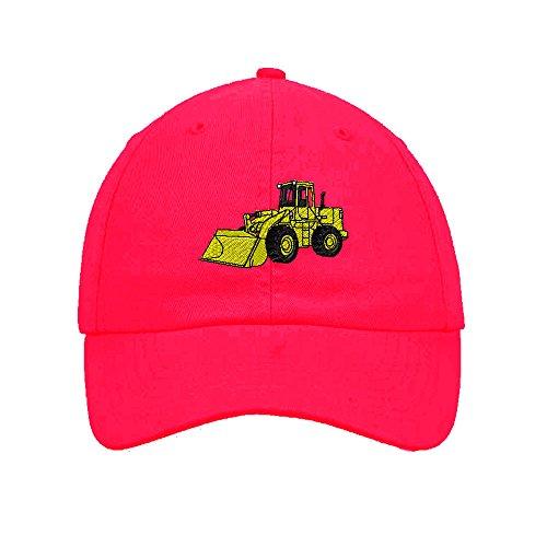 Wheel Loader Embroidered SOFT Unstructured Adjustable Hat Cap Hot Pink