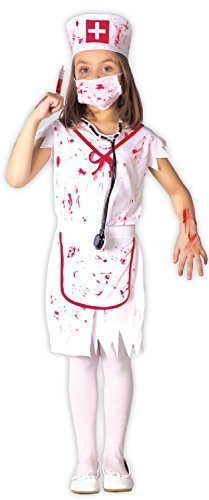 Zombie Nurse Outfit Halloween (Girls Killer Zombie Bloody Nurse Emergency Services Uniform Halloween Horror Scary Fancy Dress Costume Outfit 3-9 Yrs (7-9)